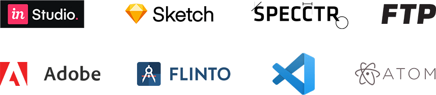 Invision Studio, Sketch, Specctr, ftp, adobe, flinto, Visual Studio, Atom