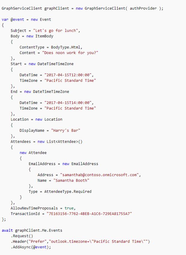 Creating a Calendar Event using Microsoft Graph API