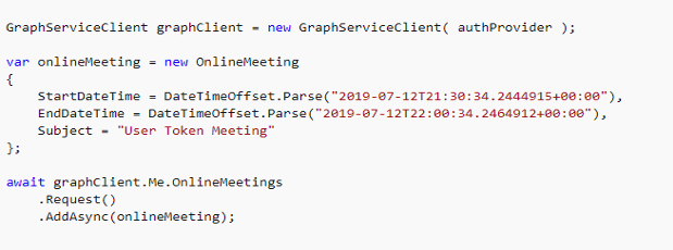 Creating an Online Meeting Using Microsoft Graph API