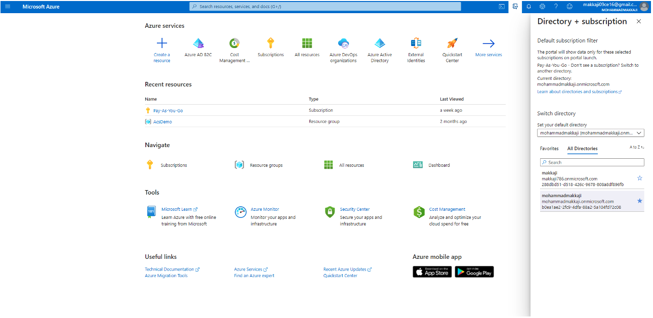 Log in to the Azure AD portal and Select the Directory + Subscription icon