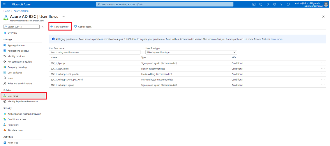 Pick User flows from the Policies menu