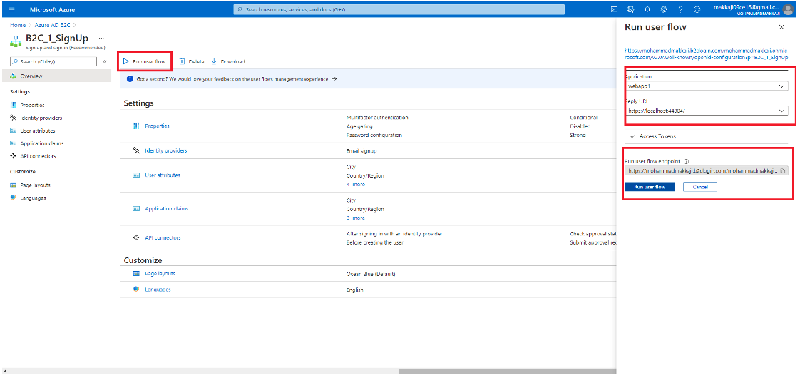 Select Sign up now after clicking Run user flow.