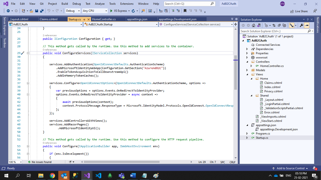 Create Application and Add Below Configuration Code in StartUp.cs file